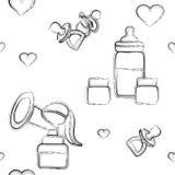 Voorwerpen voor het de borst geven, naadloos patroon stock illustratie