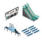 Voorwerpen voor modelleringsmedia luchthaven, station Stock Foto's