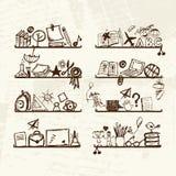 Voorwerpen voor school op planken, schetstekening Stock Afbeeldingen