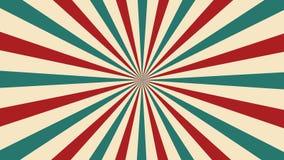 Voorzag de circus geanimeerde omwenteling achtergrond van rode en groene lijnenstreep van een lus Retro de straalstraal van de mo stock videobeelden