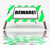 Voorzichtig zijn Tekenvertoningen die Alarm of Gevaar waarschuwen royalty-vrije illustratie