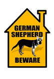 Voorzichtig zijn van Duitse herder Sign Royalty-vrije Stock Fotografie