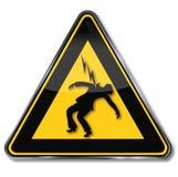 Voorzichtig zijn van elektrische schok Stock Foto's