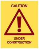 VOORZICHTIGHEID in aanbouw Stock Fotografie