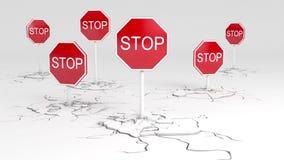 Voorzichtigheid! EINDE! vector illustratie