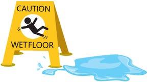 Voorzichtigheid glad met dalingswater stock illustratie