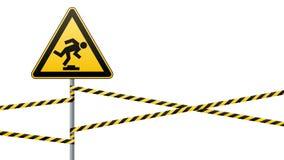Voorzichtigheid, laag-merkbare hindernis Waarschuwingsbordveiligheid De aandacht is gevaarlijk gele driehoek met zwart beeld Teke royalty-vrije illustratie