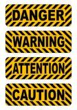 Voorzichtigheid, waarschuwing, aandacht, van het de stickersetiket van de gevaarstekst de vectorillustratie Stock Afbeeldingen