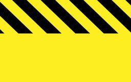 Voorzichtigheid of waarschuwing in zwarte en gele strepen met geel deel stock illustratie