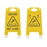 Voorzichtigheids natte vloer twee pictogrammen Stock Fotografie