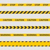 Voorzichtigheidsband, politielijn en gevaarsbanden vector illustratie
