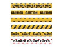 Voorzichtigheidsbanden, Gevaarsbanden Stock Foto's