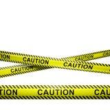 Voorzichtigheidsstrepen op wit met copyspace worden geïsoleerd die Stock Afbeelding