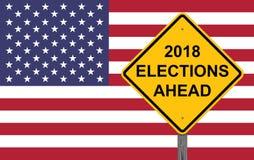 Voorzichtigheidsteken - de Verkiezing van 2018 vooruit stock foto