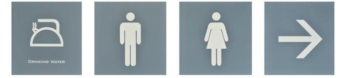 Voorzie aan WC van wegwijzers stock afbeeldingen