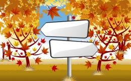 Voorzie in de herfstbos van wegwijzers Stock Foto's