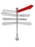 Voorzie met rode die pijl van wegwijzers op een witte achtergrond wordt geïsoleerd. Advertis Royalty-vrije Stock Foto's