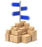 Voorzie met vier pijlen en postpakketten van wegwijzers Royalty-vrije Stock Foto's