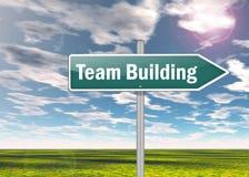 Voorzie Team Building van wegwijzers Stock Foto's