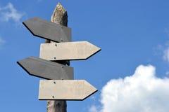 Voorzie van wegwijzers, (houten) spatie - help, steun, raad, begeleiding Stock Afbeelding