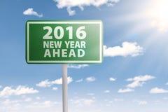 Voorzie vooruit voor het nieuwe jaar van 2016 van wegwijzers Royalty-vrije Stock Afbeelding