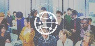 Voorzien van een netwerk Communicatie Interactie Netto Grafisch Concept royalty-vrije stock fotografie