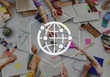 Voorzien van een netwerk Communicatie Interactie Netto Grafisch Concept stock foto's
