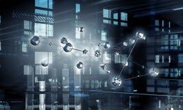 Voorzien van een netwerk en communicatietechnologieën Gemengde media Stock Afbeelding