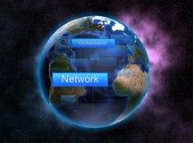 Voorzien van een netwerk en globalisering met ruimteconcept en kleurrijk als achtergrond stock illustratie