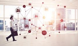 Voorzien van een netwerk en sociaal communicatie concept als efficiënt punt F Stock Foto's