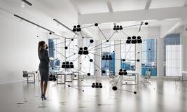 Voorzien van een netwerk en sociaal communicatie concept als efficiënt punt voor moderne zaken Stock Fotografie