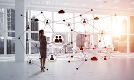 Voorzien van een netwerk en sociaal communicatie concept als efficiënt punt voor moderne zaken Stock Afbeelding