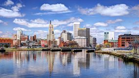 Voorzienigheid, Rhode Island Skyline stock afbeeldingen