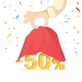 Voorziet openingsconcept De mensengreep overhandigt een rode zijdedoek, openend 50 percentenkorting vector illustratie