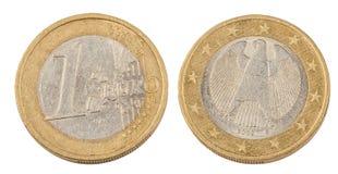 Voorzijde en Rug van Één Euro Muntstuk Stock Foto