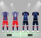 Voorzijde en rug van het malplaatjevector van voetbaluniformen vector illustratie
