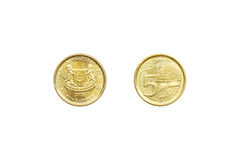 Voorzijde en rug van muntstuk 5 cent van Singapore royalty-vrije stock afbeelding