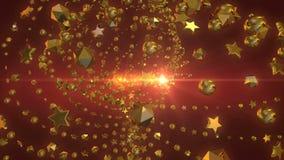 Voorzijde van de de kettingscyclus van Shinnings de gouden sterren van rood vleklicht royalty-vrije illustratie