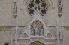 Voorzijde van de Kathedraal van Zagreb Royalty-vrije Stock Foto