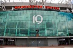 Voorzijde van de Manchester United de megaopslag stock foto's