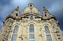 Voorzijde van Frauenkircke in Dresden, Duitsland Stock Foto