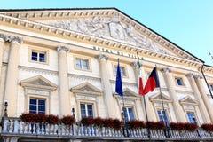 Voorzijde van het Stadhuis van Aosta, Italië Royalty-vrije Stock Afbeelding