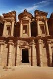 Voorzijde van Klooster bij Petra, Jordanië Royalty-vrije Stock Afbeelding