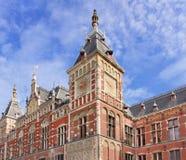 Voorzijde van oud Centraal Station, Amsterdam, Nederland royalty-vrije stock foto's