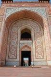 Voorzijde van poort aan het Graf van Akbar Stock Foto's