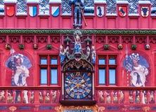 Voorzijde van Rathaus, Bazel, Zwitserland Stock Fotografie