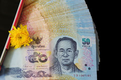 Voorzijde van Thaise vijftig Bahtbankbiljetten Stock Foto's