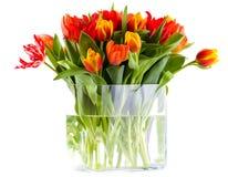 Voorzijde van vaas volledige tulpen Royalty-vrije Stock Foto