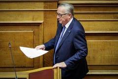 Voorzitter van de Europese Commissie het bezoek Greec van Jean-Claude Juncker Royalty-vrije Stock Fotografie