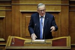 Voorzitter van de Europese Commissie het bezoek Greec van Jean-Claude Juncker Royalty-vrije Stock Afbeelding